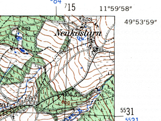 Reduced fragment of topographic map de--mb--025k--61_037-ams--(1954)--N049-54_E011-50--N049-48_E012-00