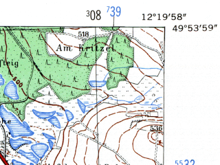 Reduced fragment of topographic map de--mb--025k--61_039-ams--(1954)--N049-54_E012-10--N049-48_E012-20