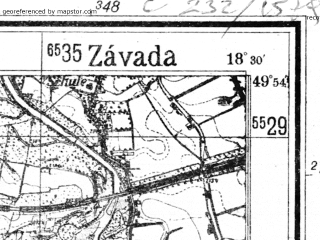 Reduced fragment of topographic map de--mb--025k--61_076--(1941)--N049-54_E018-20--N049-48_E018-30; towns and cities Orlova, Bohumin