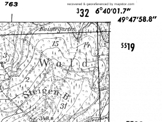 Reduced fragment of topographic map de--mb--025k--62_005-ams--(1952)--N049-48_E006-30--N049-42_E006-40; towns and cities Trier