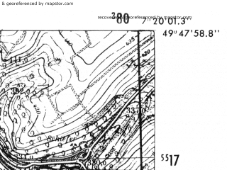 Reduced fragment of topographic map de--mb--025k--62_009-ams--(1952)--N049-48_E007-10--N049-42_E007-20; towns and cities Idar-oberstein
