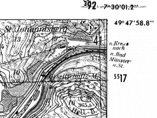 Reduced fragment of topographic map de--mb--025k--62_010-ams--(1952)--N049-48_E007-20--N049-42_E007-30