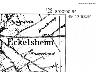 Reduced fragment of topographic map de--mb--025k--62_013-ams--(1952)--N049-48_E007-50--N049-42_E008-00
