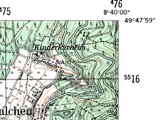 Reduced fragment of topographic map de--mb--025k--62_017-ams--(1954)--N049-48_E008-30--N049-42_E008-40
