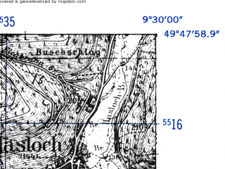 Reduced fragment of topographic map de--mb--025k--62_022-ams--(1952)--N049-48_E009-20--N049-42_E009-30