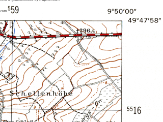 Reduced fragment of topographic map de--mb--025k--62_024-ams--(1954)--N049-48_E009-40--N049-42_E009-50