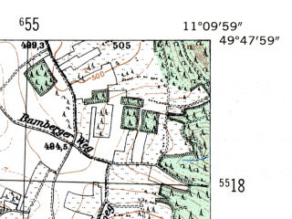 Reduced fragment of topographic map de--mb--025k--62_032-ams--(1954)--N049-48_E011-00--N049-42_E011-10; towns and cities Forchheim