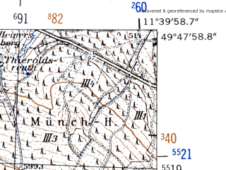 Reduced fragment of topographic map de--mb--025k--62_035-ams--(1952)--N049-48_E011-30--N049-42_E011-40; towns and cities Pegnitz