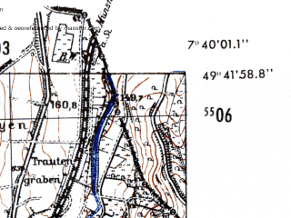 Reduced fragment of topographic map de--mb--025k--63_011-ams--(1952)--N049-42_E007-30--N049-36_E007-40