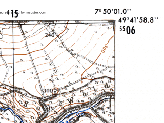 Reduced fragment of topographic map de--mb--025k--63_012-ams--(1952)--N049-42_E007-40--N049-36_E007-50