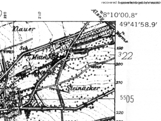 Reduced fragment of topographic map de--mb--025k--63_014-ams--(1952)--N049-42_E008-00--N049-36_E008-10
