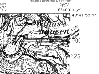 Reduced fragment of topographic map de--mb--025k--63_017-ams--(1952)--N049-42_E008-30--N049-36_E008-40; towns and cities Bensheim