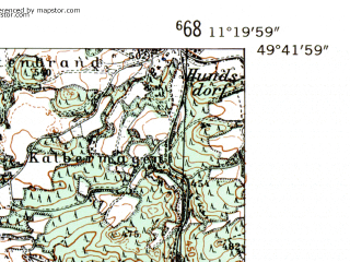 Reduced fragment of topographic map de--mb--025k--63_033-ams--(1954)--N049-42_E011-10--N049-36_E011-20