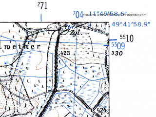Reduced fragment of topographic map de--mb--025k--63_036-ams--(1952)--N049-42_E011-40--N049-36_E011-50