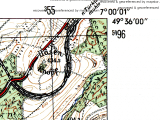Reduced fragment of topographic map de--mb--025k--64_007-ams--(1954)--N049-36_E006-50--N049-30_E007-00