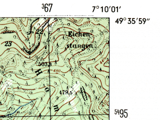 Reduced fragment of topographic map de--mb--025k--64_008-ams--(1954)--N049-36_E007-00--N049-30_E007-10