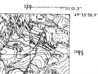 Reduced fragment of topographic map de--mb--025k--64_009-ams--(1952)--N049-36_E007-10--N049-30_E007-20