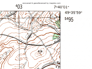 Reduced fragment of topographic map de--mb--025k--64_011-ams--(1954)--N049-36_E007-30--N049-30_E007-40