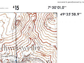 Reduced fragment of topographic map de--mb--025k--64_012-ams--(1952)--N049-36_E007-40--N049-30_E007-50