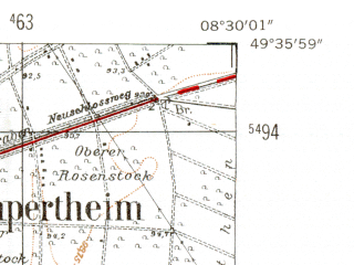 Reduced fragment of topographic map de--mb--025k--64_016-ams--(1954)--N049-36_E008-20--N049-30_E008-30; towns and cities Frankenthal