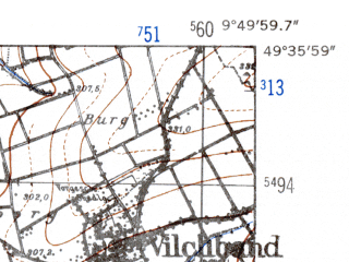 Reduced fragment of topographic map de--mb--025k--64_024-ams--(1952)--N049-36_E009-40--N049-30_E009-50