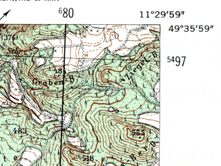 Reduced fragment of topographic map de--mb--025k--64_034-ams--(1954)--N049-36_E011-20--N049-30_E011-30