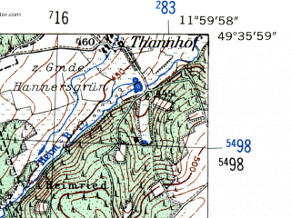Reduced fragment of topographic map de--mb--025k--64_037-ams--(1954)--N049-36_E011-50--N049-30_E012-00