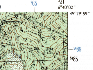 Reduced fragment of topographic map de--mb--025k--65_005-ams--(1954)--N049-30_E006-30--N049-24_E006-40; towns and cities Merzig