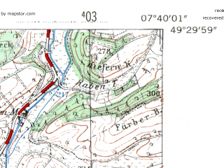 Reduced fragment of topographic map de--mb--025k--65_011-ams--(1954)--N049-30_E007-30--N049-24_E007-40
