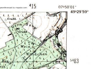Reduced fragment of topographic map de--mb--025k--65_012-ams--(1954)--N049-30_E007-40--N049-24_E007-50; towns and cities Kaiserslautern