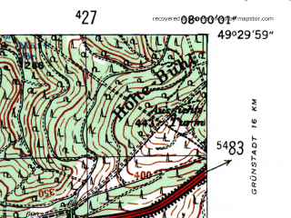 Reduced fragment of topographic map de--mb--025k--65_013-ams--(1954)--N049-30_E007-50--N049-24_E008-00