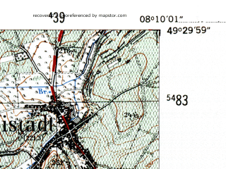 Reduced fragment of topographic map de--mb--025k--65_014-ams--(1954)--N049-30_E008-00--N049-24_E008-10