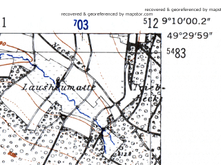 Reduced fragment of topographic map de--mb--025k--65_020-ams--(1952)--N049-30_E009-00--N049-24_E009-10; towns and cities Eberbach