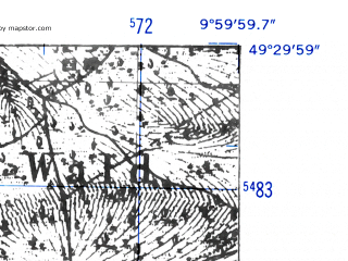 Reduced fragment of topographic map de--mb--025k--65_025-ams--(1952)--N049-30_E009-50--N049-24_E010-00