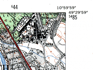 Reduced fragment of topographic map de--mb--025k--65_031-ams--(1954)--N049-30_E010-50--N049-24_E011-00; towns and cities Furth