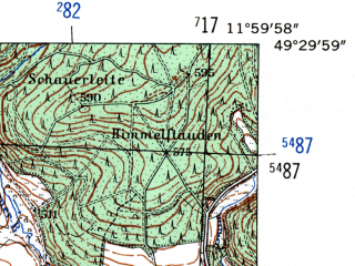 Reduced fragment of topographic map de--mb--025k--65_037-ams--(1954)--N049-30_E011-50--N049-24_E012-00; towns and cities Amberg