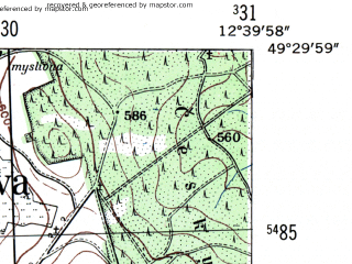 Reduced fragment of topographic map de--mb--025k--65_041-ams--(1954)--N049-30_E012-30--N049-24_E012-40