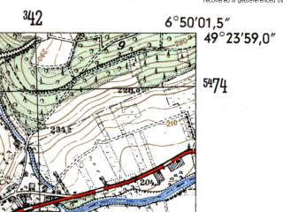 Reduced fragment of topographic map de--mb--025k--66_006-ams--(1954)--N049-24_E006-40--N049-18_E006-50; towns and cities Saarlouis