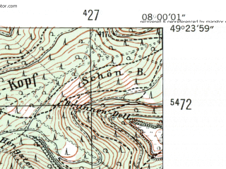 Reduced fragment of topographic map de--mb--025k--66_013-ams--(1954)--N049-24_E007-50--N049-18_E008-00