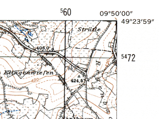 Reduced fragment of topographic map de--mb--025k--66_024-ams--(1954)--N049-24_E009-40--N049-18_E009-50