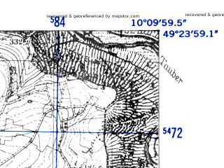 Reduced fragment of topographic map de--mb--025k--66_026-ams--(1952)--N049-24_E010-00--N049-18_E010-10