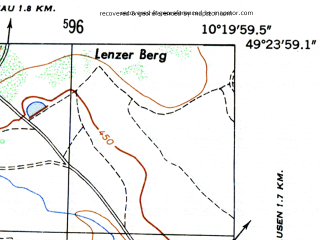 Reduced fragment of topographic map de--mb--025k--66_027-ams--(1953)--N049-24_E010-10--N049-18_E010-20; towns and cities Rothenburg Ob Der Tauber