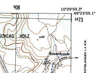 Reduced fragment of topographic map de--mb--025k--66_028-ams--(1953)--N049-24_E010-20--N049-18_E010-30