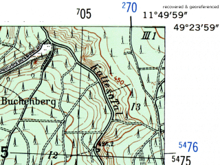 Reduced fragment of topographic map de--mb--025k--66_036-ams--(1954)--N049-24_E011-40--N049-18_E011-50