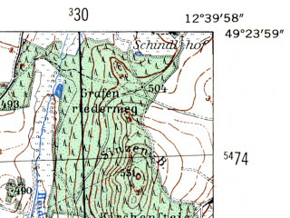 Reduced fragment of topographic map de--mb--025k--66_041-ams--(1954)--N049-24_E012-30--N049-18_E012-40