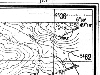 Reduced fragment of topographic map de--mb--025k--67_004--(1942)--N049-18_E006-20--N049-12_E006-30
