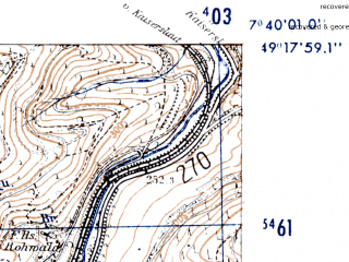 Reduced fragment of topographic map de--mb--025k--67_011-ams--(1952)--N049-18_E007-30--N049-12_E007-40