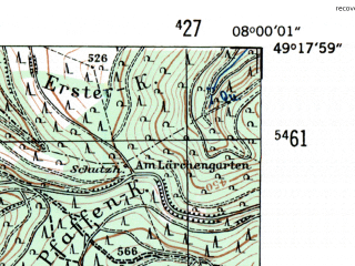 Reduced fragment of topographic map de--mb--025k--67_013-ams--(1954)--N049-18_E007-50--N049-12_E008-00