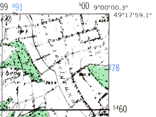 Reduced fragment of topographic map de--mb--025k--67_019-ams--(1953)--N049-18_E008-50--N049-12_E009-00; towns and cities Sinsheim