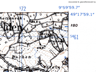 Reduced fragment of topographic map de--mb--025k--67_025-ams--(1952)--N049-18_E009-50--N049-12_E010-00
